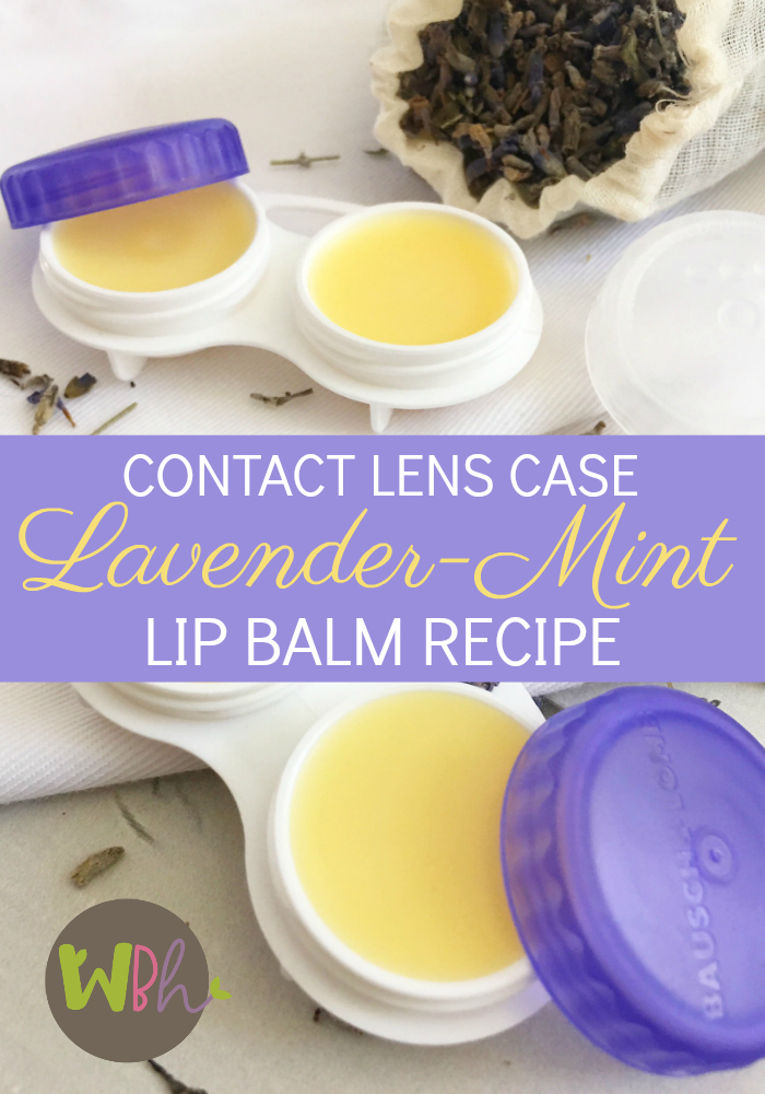 Contact Lens Case Lavender-Mint Lip Balm - The recipe is so simple to make, you'll be making it all the time for yourself and all your friends. You could even put a different flavor on each side. #essentialoils #DIY #lipbalm