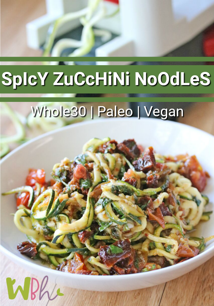 If you like a little spice in your life, I think you'll enjoy this delicious spicy zucchini noodles recipe for lunch. You could even make it as a side dish for your main meal. It's chock-full of healthy goodness and is very simple to make. It's also gluten-free, Whole30 and Paleo compliant, as well as Vegan. #zucchininoodles #zoodles #veganrecipe #whole30recipe #paleorecipe