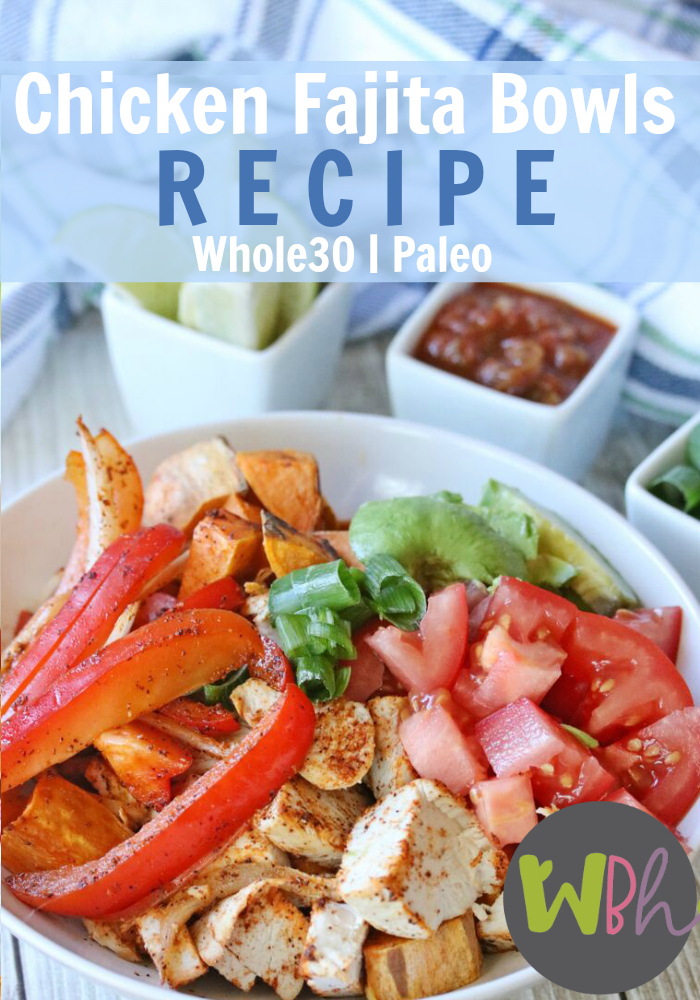 When most people eat fajita bowls, they serve the meat, peppers, and onions over rice, but rice is not a Whole30 approved food. After playing around with it a few times, I discovered the perfect substitute -- roasted sweet potatoes! #recipes #whole30 #whole30recipes #paleo #paleorecipes #glutenfree #glutenfreerecipes