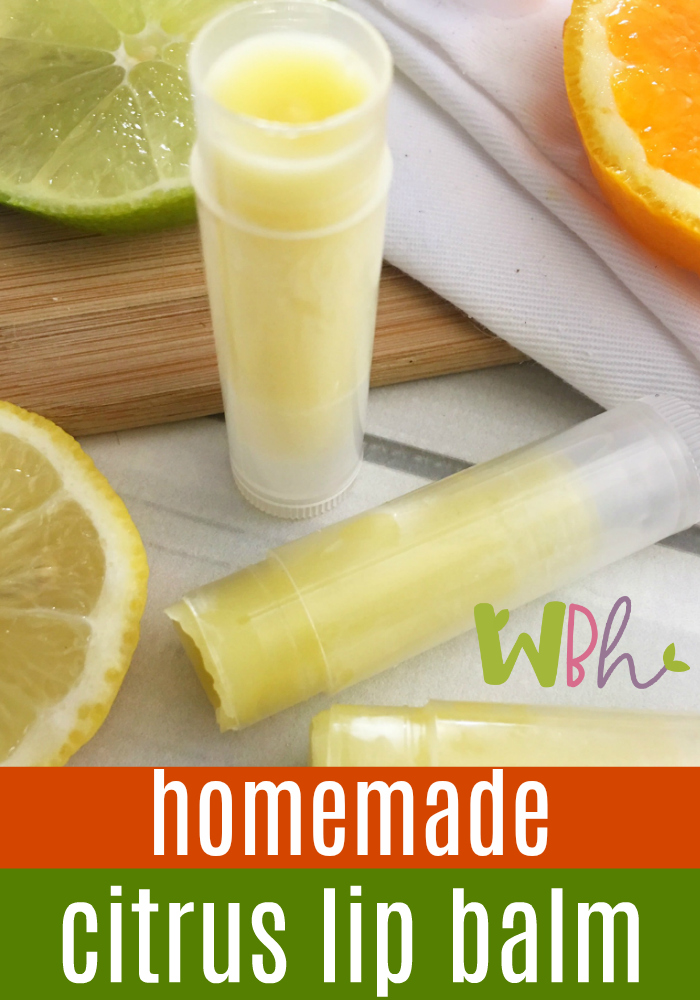 I use citrus essential oils in this recipe, but truly, the possibilities are endless with all of the different combinations of essential oils you could try. Peppermint is another favorite of mine. Have fun experimenting with your homemade lip balm! #DIY #DIYlipbalm #homemadelipbalm #essentialoils #lipbalm