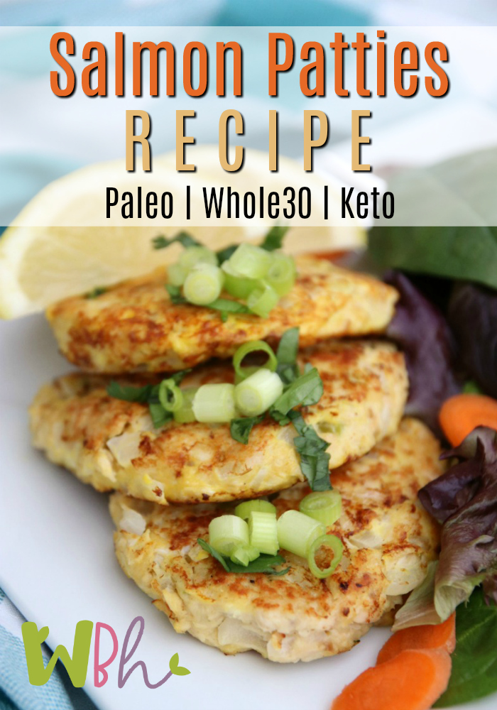 I absolutely love making salmon patties. I usually make at least a dozen at a time because they will keep in the fridge for days and also freeze well. This recipe will work for those eating Paleo, Whole30, or Keto! #recipe #salmonrecipe #whole30 #whole30recipes #paleo #paleorecipes #keto #ketorecipes