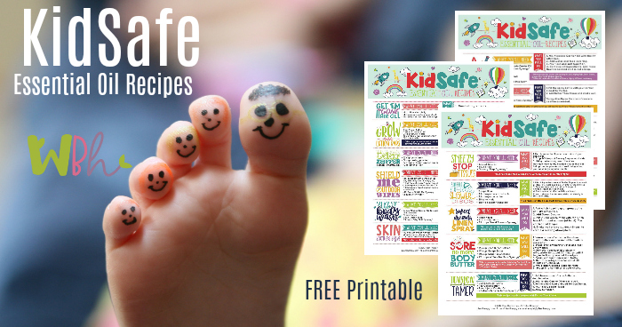 Our friends at Plant Therapy have created a gorgeous FREE printable filled with KidSafe recipes for your first aid kit and other needs. KidSafe Essential Oil Recipes includes recipes that will work well for your natural first aid kit, such as a Better Than Kisses Ouch Spray, Shield Me Outdoor Wipes, Skin Soother Salve, and Sore No More Body Butter, along with other KidSafe recipes for sleep, tension relief, shoe/foot odor, calming/focus, hair gel, and anti-bacterial soap jellies. These recipes use essential oils and blends that are safe for kids over the age of 2-years-old. #essentialoils #aromatherapy