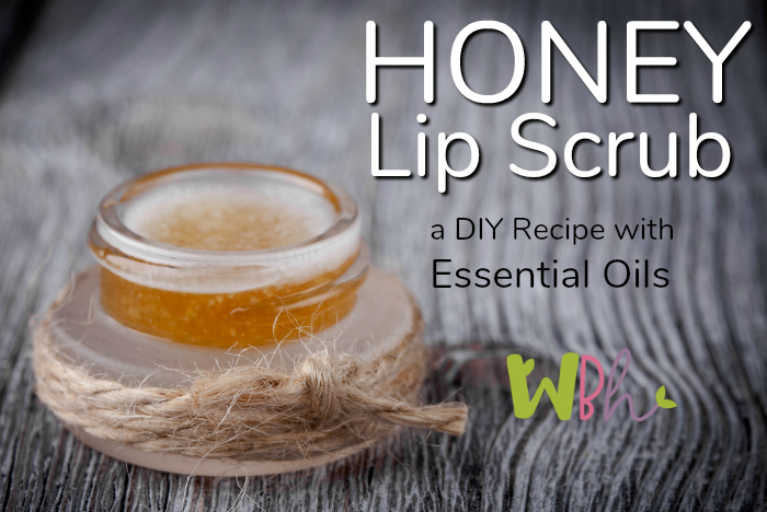 Exfoliate your lips once or twice a week with this yummy honey lip scrub. You'll love the way it makes them feel! #aromatherapy #essentialoils #lipscrub #sugarscrub