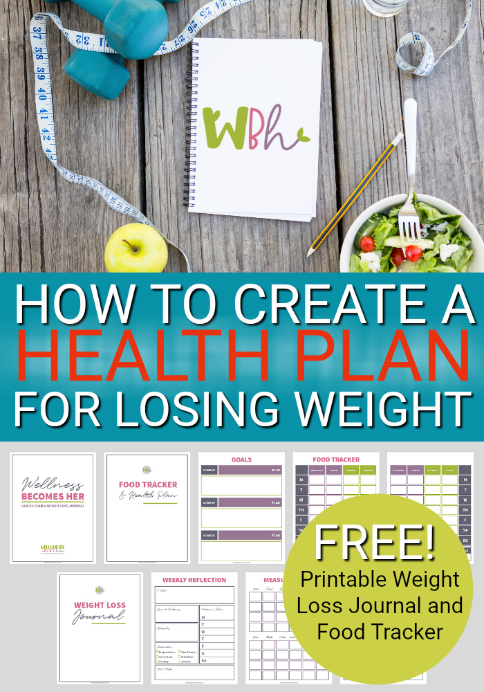 Creating a health plan for losing weight and then recording your daily activities and weekly or monthly progress can help lead to successful weight loss. Download this free printable weight loss journal and food tracker! #losingweight #weightloss #weightlossinspiration #weightlossjourney #weightlosstips #weightlossmotivation #health #healthy #healthylifestyle