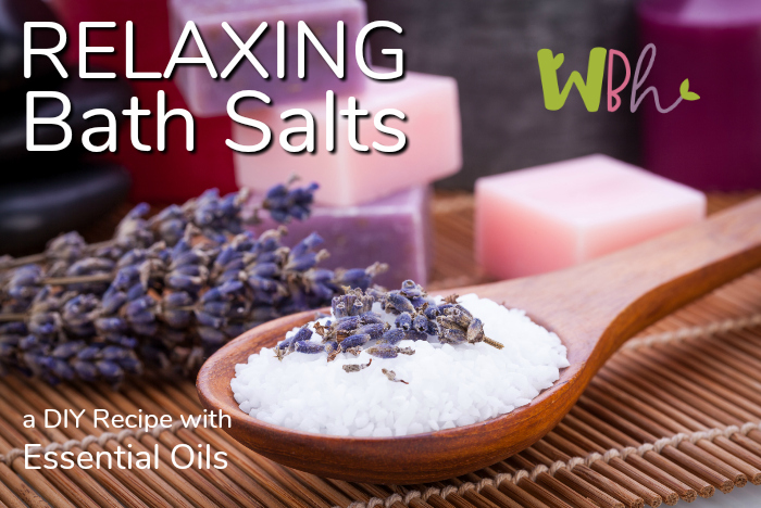 Reduce stress in a warm bath with these relaxing bath salts made with essential oils. #aromatherapy #essentialoils #reducestress #bathsalts #relaxation