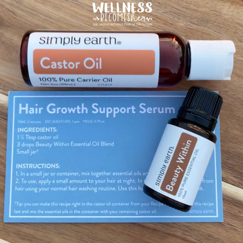 Hair Growth Support Serum made with Beauty Within Essential Oil Blend from Simply Earth. #essentialoils #hairgrowthserus #aromatherapy